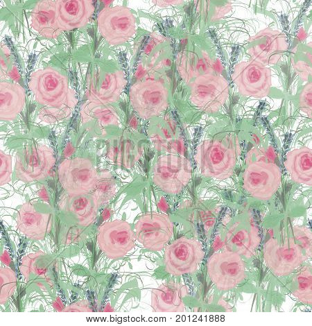 Delicate floral pattern with roses, lavender and lush foliage. Beautiful cute background for printing on fabrics, surfaces, paper, scrap-booking, patchwork. Vector illustration