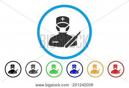 Surgeon rounded icon. Vector illustration style is a flat iconic symbol inside a circle, with black, gray, green, blue, orange, red color versions. Designed for web and software interfaces.