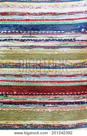 Handmade Woven Runner With Fabric Scrap