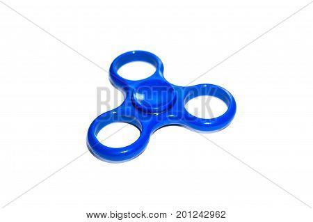 Blue Finger Spinner Stress Anxiety Relief Toy Isolated On White Background.