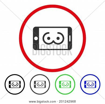 Mobile Female Erotics rounded icon. Vector illustration style is a flat iconic symbol inside a red circle, with black, grey, blue, green versions. Designed for web and software interfaces.
