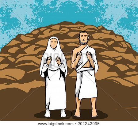 Vector illustration of hajj pilgrim praying in front of rock mount