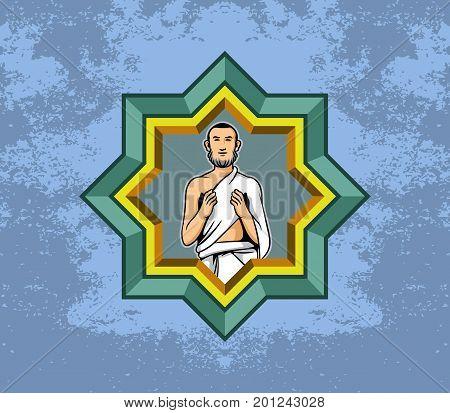 Vector illustration of hajj pilgrim men praying and polygon decoration