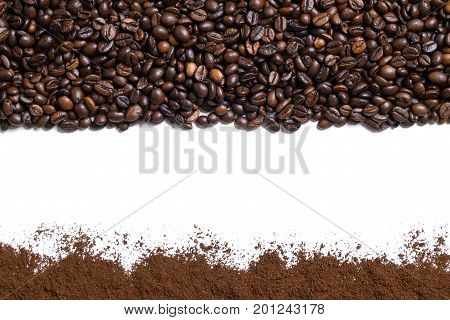 White background with coffee beans and ground coffee on below and above. View from above with space for text. Still life. Mock-up. Flat lay