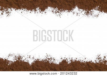 White background with ground coffee on below and above. View from above with space for text. Still life. Mock-up. Flat lay