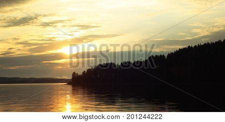Kenozero Lake. Sunset. Aged Photo. Russian North.