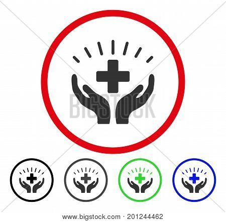 Medical Prosperity rounded icon. Vector illustration style is a flat iconic symbol inside a red circle, with black, gray, blue, green versions. Designed for web and software interfaces.