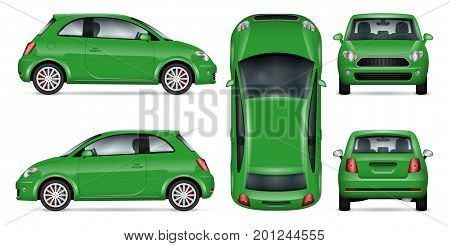 Green mini car vector mock-up for car branding and advertising. Isolated minicar set on white. All layers and groups well organized for easy editing and recolor. View from side front back top.