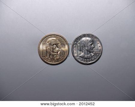 John Adams und Susan B Anthony Dollar Münzen