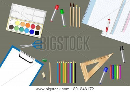 School supplies and tools are lying on a brown wooden table. Free place for your text is in the middle of the vector.
