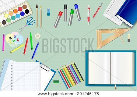 School supplies are lying on the green background. Free place for your text is in the middle of the vector.