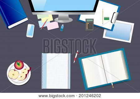 Top view of office table with office equipment with apples on the plate. Open book is ready for your text.