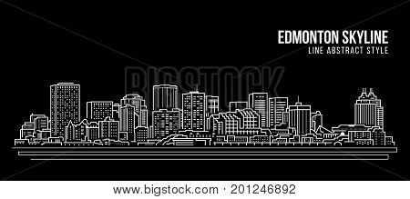 Cityscape Building Line art Vector Illustration design - Edmonton skyline