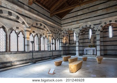 Pisa, Italy - April 07, 2017: Interior of Santa Maria della Spina. The church is one of the most outstanding Gothic edifices of Europe