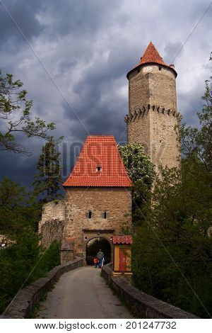 Zvikov castle in cloudy dark day Czech republic