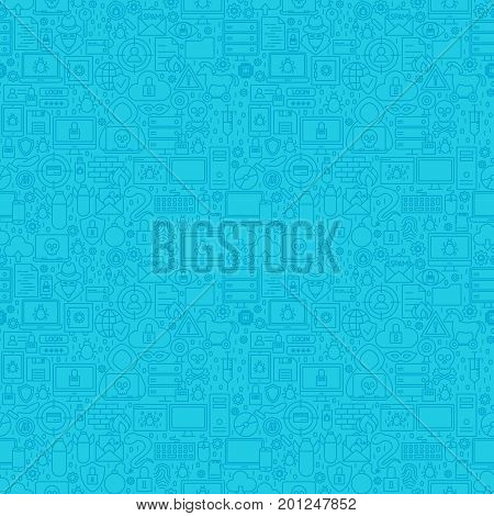 Blue Line Cyber Crime Pattern. Vector Illustration of Outline Background.