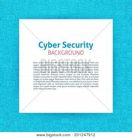 Cyber Security Paper Template. Vector Illustration of Paper over Outline Design.