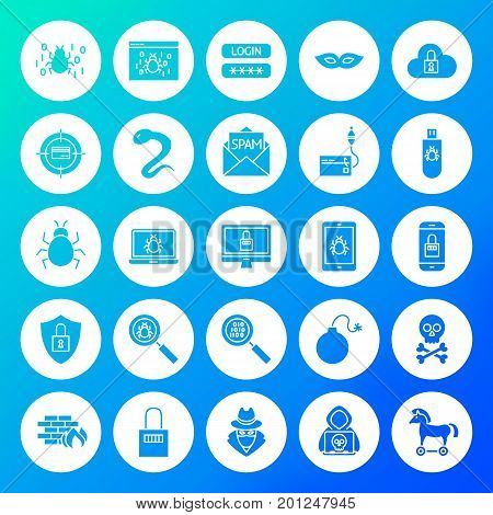 Hacker Circle Solid Icons. Vector Illustration of Glyphs over Blurred Background.