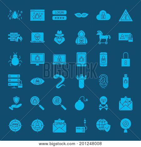 Hacker Solid Web Icons. Vector Set of Cyber Security Glyphs.