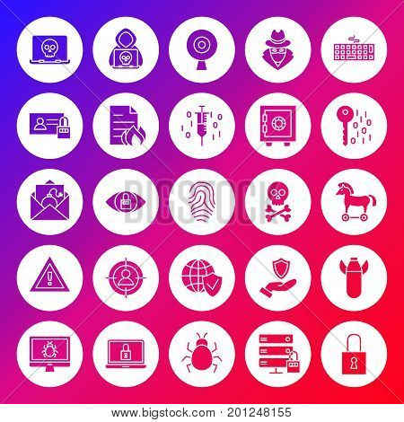 Internet Security Solid Circle Icons. Vector Illustration of Glyphs over Blurred Background.