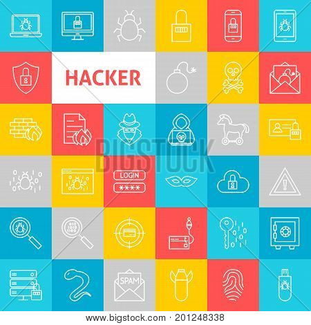 Vector Line Hacker Icons. Thin Outline Cyber Crime Symbols over Colorful Squares.