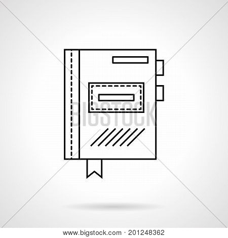 Symbol of closed planner with bookmarks. Office supplies and accessories, stationery for school and business. Flat black line vector icon.