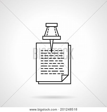 Symbol of pinned paper sheets with abstract text. Attached documents, memo, to do list. Office and business concept. Flat black line vector icon.
