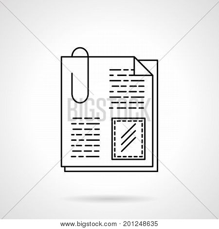 Symbol of attachment files. Documents with paper clip. Office accessories and supplies. Flat black line vector icon.