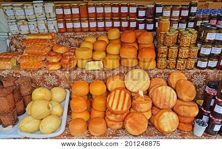 Balea Romania - July 29 2014: Traditional food market sale in Fagaras Mountains Romania. Shot taken on July 29th 2014