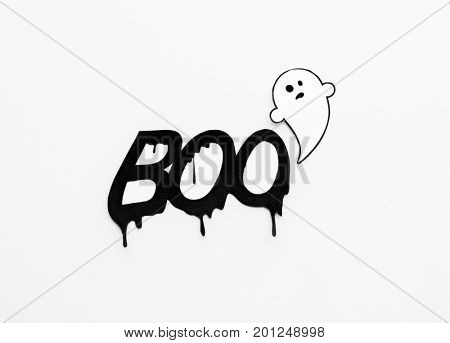 halloween and decoration concept - paper ghost doodle and word boo over white background
