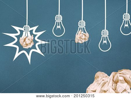 Digital composite of light bulbs with crumpled paper balls