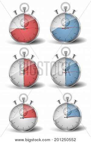 A set of six stopwatches. The measured time is fifteen, thirty, forty five seconds: to be in time, late.