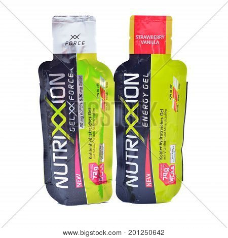 Caransebes Romania - April 18 2014: Nutrixxion energy gel isolated on white vitamin complex used by athletes in triathlon running marathon mountain-bike and race bike competitions