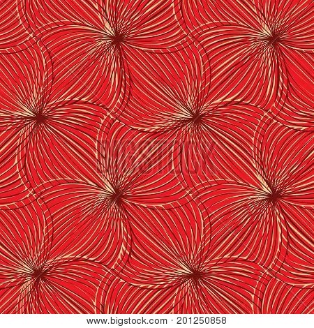 Vector seamless simple abstract spiral red pattern.