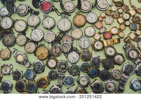 Old Soviet Watches. Retro Toned Photo