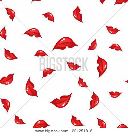 white seamless pattern with red lips. vector