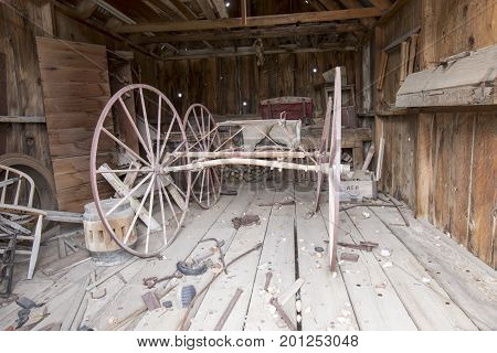 Vintage Wagon In Shed With Tools, Bodie