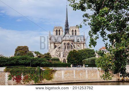 Paris, France - August 16, 2016. Notre-Dam de Paris also known as Our Lady of Paris is famous medieval gothic cathedral in Paris. Notr Dam building front view.