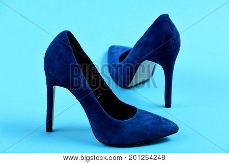 Pair Of Fancy Blue Suede High Heel Shoes
