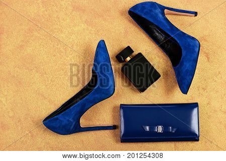 Pair Of Fancy Suede Female Shoes, Topview. Shoes And Clutch
