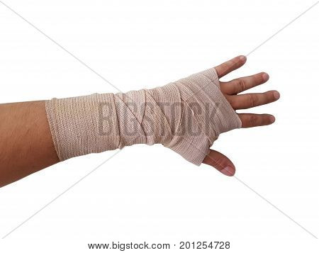 hand bandage right hand male isolated white background