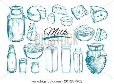 Dairy products collection. Cow milk products cheese butter sour cream curd yogurt. Farm foods. Farm landscape with cow. Vector Hand drawn illustration. Isolated objects on white