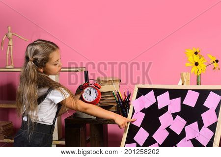 Kid And School Supplies, Pink Background. Childhood And Study Time