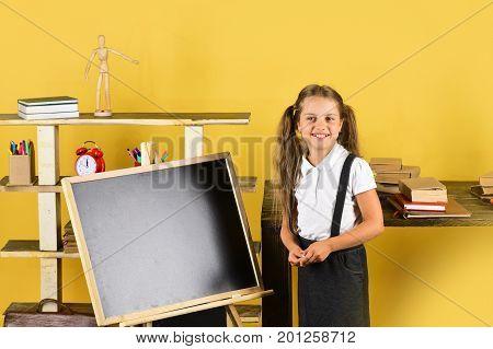 Girl In Classroom Stands Near Blackboard, Copy Space