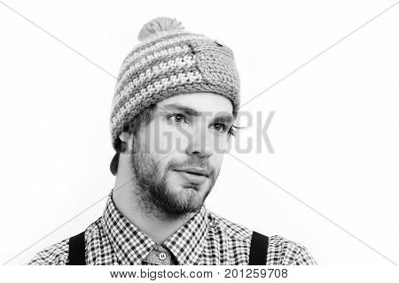 Guy With Funny Hat In Blue, Beige And Orange Color