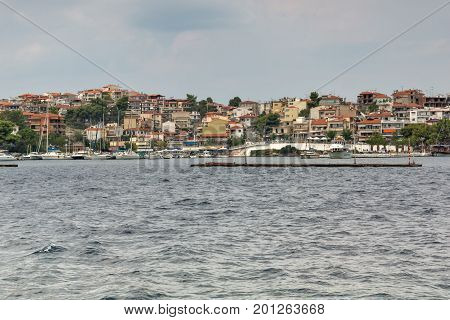 Panoramic view of coastline of town of Neos Marmaras at Sithonia peninsula, Chalkidiki, Central Macedonia, Greece