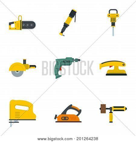 Construction electric tool icon set. Flat set of 9 construction electric tool vector icons for web isolated on white background