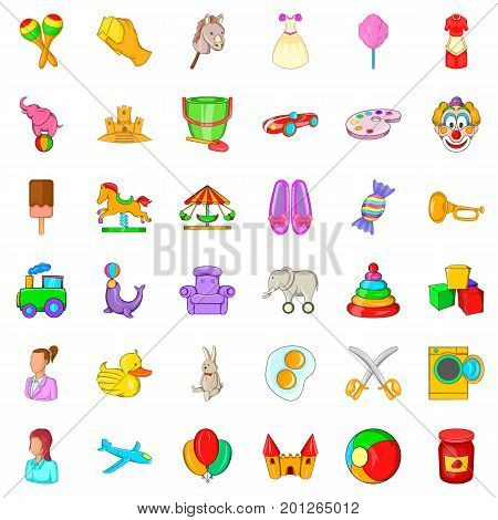 Play in park icons set. Cartoon style of 36 play in park vector icons for web isolated on white background