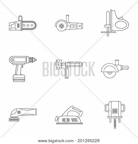 Electric power tool icon set. Outline set of 9 electric power tool vector icons for web isolated on white background