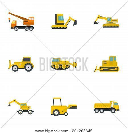 Building heavy vehicle icon set. Flat set of 9 building heavy vehicle vector icons for web isolated on white background